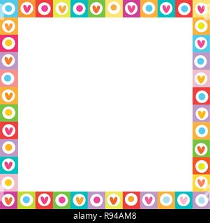 Cute vector vibrant square love frame made of doodle hand drawn hearts on white background. Template with copyspace for valentine greeting card, weddi - Stock Photo