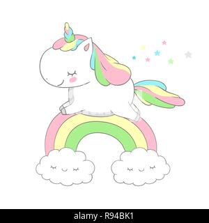 Cute Baby Unicorn Run Above Rainbow Vector Design. Funny Pony Fairy Tale Can be used for t-shirt print, kids wear fashion design, baby shower invitation card - Stock Photo
