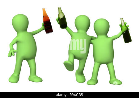 Cheerful friends with bottles of beer. Isolated over white - Stock Photo