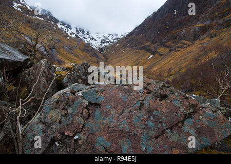 Glencoe's famous Hidden Valley in early autumn, Scottish Highlands. - Stock Photo
