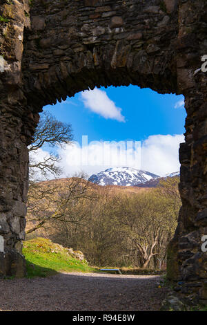 View of Ben Nevis from Old Inverlochy Castle, Fort William, Scotland. - Stock Photo