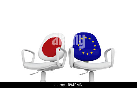 Japan and Europe business chairs. Internationl relationship concept. 3D Rendering - Stock Photo