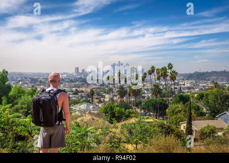 Tourist looking at the downtown panorama of Los Angeles - Stock Photo