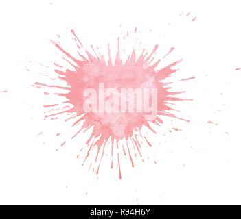 Hand painted watercolor splash texture in shape of heart. Vector pink paint blob isolated on the white background for cards or Valentine Day postcards - Stock Photo