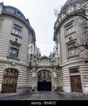 BUCHAREST, ROMANIA - DECEMBER 9: Ornamental gate is seen at the Banca Comerciala Romana (Romanian Commercial Bank) on December 9, 2018 in Bucharest, Romania. - Stock Photo