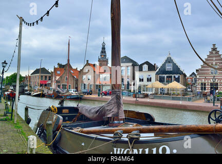 View of the centre of the historical town of Monnickendam on the coast of the Markermeer, and in the Waterland Region, North Holland, Netherlands - Stock Photo