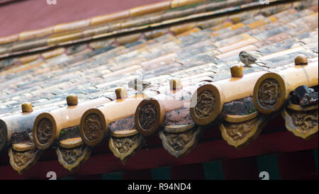 Two birds standing on ornate Chinese roof tiles - Stock Photo