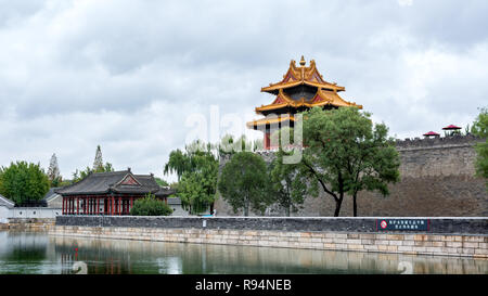 Corner tower and pavilion of The Forbidden City (north east corner), Beijing, China - Stock Photo