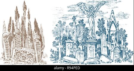 Vintage cemetery landscape with an angel on the background of the forest. Amazing scary place. Mystical landscape for cards, banners and website Vintage Engraved hand drawn monochrome sketch. - Stock Photo