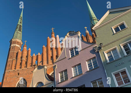 Spires of St Mary's Church and house gables Gdańsk Poland - Stock Photo