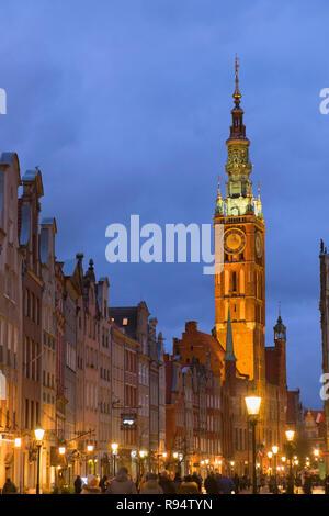 Dlugi Targ Long Market street and Town Hall tower. Gdańsk Poland - Stock Photo