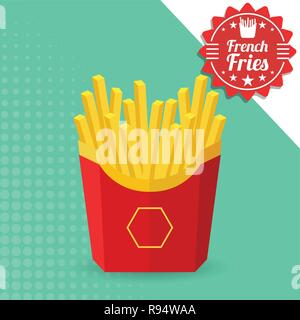 French fries in a red package. Vector Illustration, eps 10. - Stock Photo