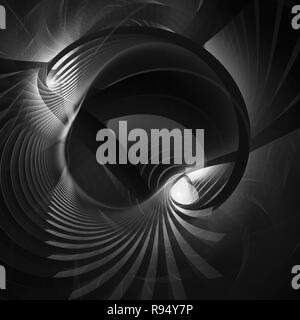 Abstract bright wavy lines on a dark background. Futuristic technology illustration design The pattern of the wave line Abstract modern background for - Stock Photo