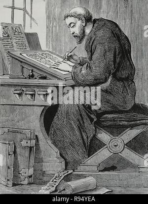 Medieval monk copyist. Engraving, 19th century. - Stock Photo
