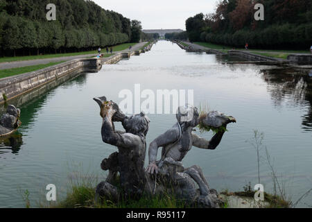 CASERTA, ITALY - SEPTEMBER 24, 2017: View of the grand Cascade of Royal Palace of Caserta. Built by the architect Vanvitelli, the historic owners were - Stock Photo