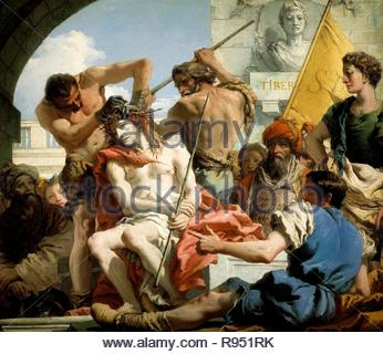Giandomenico Tiepolo / 'The Crown of Thorns', 1772, Italian School, Oil on canvas, 124 cm x 144 cm, P00357. Museum: MUSEO DEL PRADO. - Stock Photo