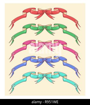 Christmas bow ribbons set decorations collection of five colors red, blue, pink, teal and green for decoration isolated vector illustration - Stock Photo