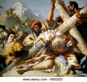 Giandomenico Tiepolo / 'Jesus Falls on the Path to Calvary', 1772, Italian School, Oil on canvas, 124,3 cm x 145 cm x 2,5 cm, P00358. Museum: MUSEO DEL PRADO. - Stock Photo