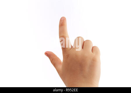 Child's right hand tapping with index finger isolated on white background - Stock Photo