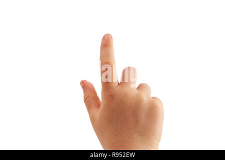 Little girl's right hand tapping with index finger isolated on white background - Stock Photo