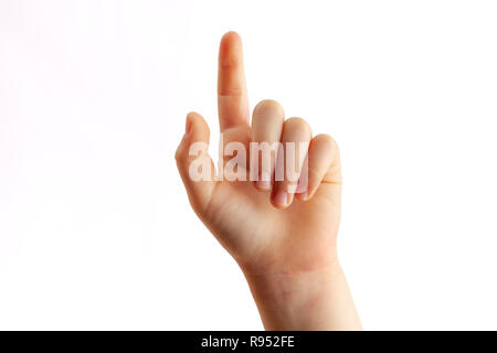 Child right hand tapping with index finger closeup - isolated on white background - Stock Photo