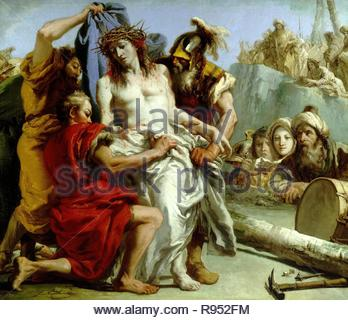 Giandomenico Tiepolo / 'The Disrobing of Christ', 1772, Italian School, Oil on canvas, 124,5 cm x 144,5 cm, P00359. Museum: MUSEO DEL PRADO. - Stock Photo