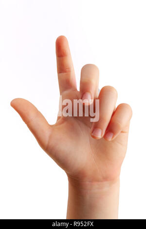 Girl right hand tapping with index finger closeup - isolated on white background - Stock Photo