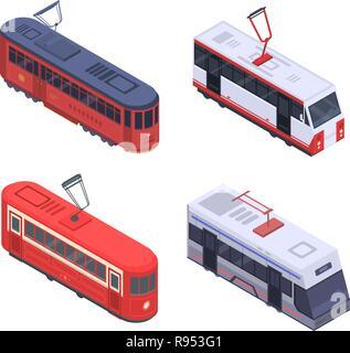 Tram car icon set, isometric style - Stock Photo