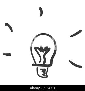 Lamp showing the idea. Children s drawing, doodles - Stock Photo