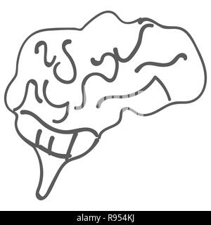 Children s drawing of human brain. Doodle, icon - Stock Photo