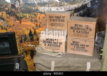Display of World War Two Ration Boxes in the Musée de la Résistance Castellane Alpes-de-Haute-Provence Provence France - Stock Photo