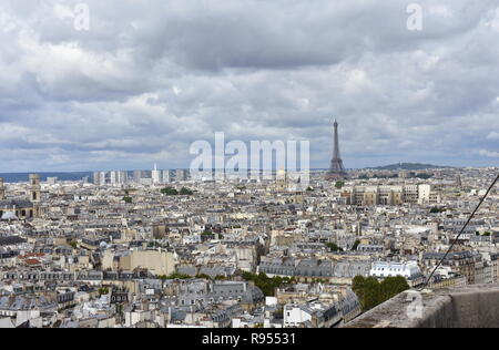 Eiffel Tower and Invalides from Notre Dame viewpoint. Paris, France. - Stock Photo