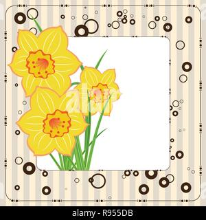 bouquet of daffodils, greeting card, vector template - Stock Photo