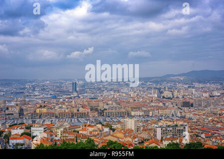 Aerial View at dawn on the Marseille City, France