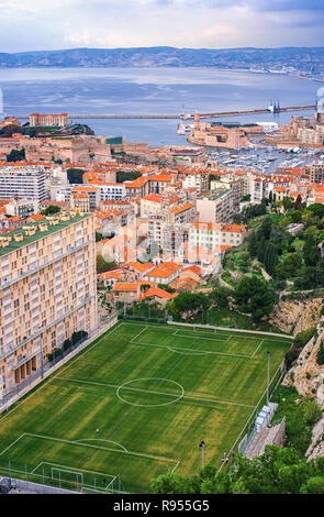 Aerial View of Marseille City and its Harbor, France - Stock Photo