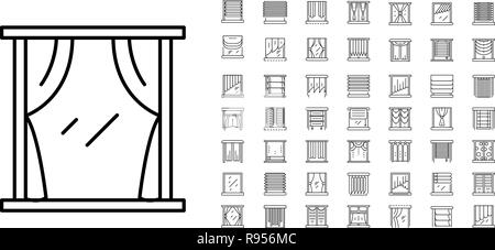 Blind window icon set, outline style - Stock Photo