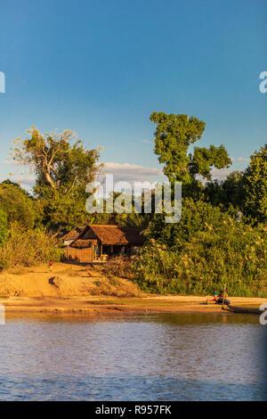 Rural landscape with fisherman hut near Bemaraha - Stock Photo