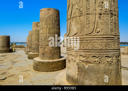 Kom Ombo, temple column details - Stock Photo