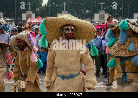 A traditional Mexican dance at the Basilica of Our Lady of Guadalupe in Mexico City, Mexico - Stock Photo
