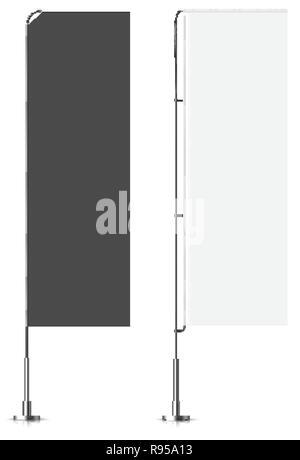 Banner flag templates. Banner flag mockups set. Vector mock-up. Realistic vector illustration. - Stock Photo