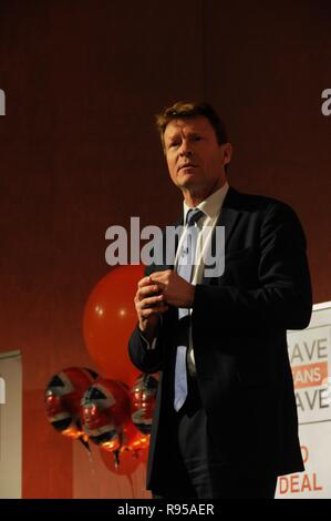 Richard Tice, the founder of Leave Means Leave, at a campaign event in London. - Stock Photo