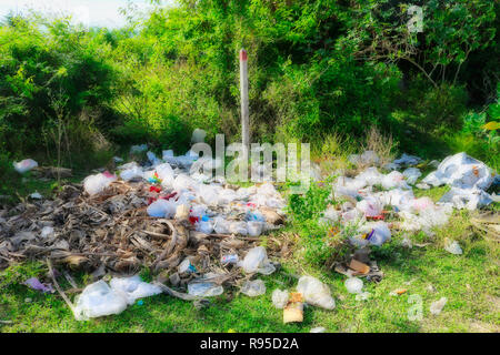 This photo shows the catastrophic pollution with plastic garbage in Thailand! The photo was taken in Hua Hin - Stock Photo