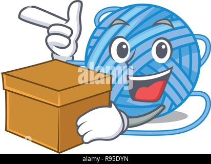 With box wool balls isolated on a mascot - Stock Photo