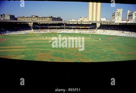 Cricket Match at Wankhede Stadium, Mumbai, Maharashtra, India - Stock Photo