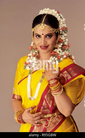 woman in south indian bridal costume, india, MR - Stock Photo