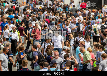 PARIS, FRANCE - JUN 23, 2017: Crowd of visitors at the Paris Air Show 2017. - Stock Photo