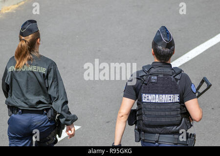 PARIS, FRANCE - JUN 23, 2017: Armed National Gendarmerie on guard at the Paris Air Show 2017. - Stock Photo