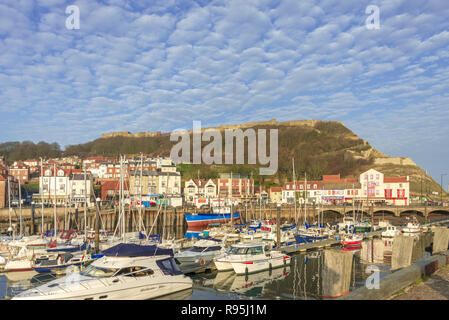 The marina at Scarborough. Boats are moored in the harbour with the shorefront and hill with castle ruins atop are behind. - Stock Photo