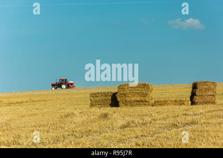 Red tractor running through the fields and haystacks, horizon and blue sky - Stock Photo