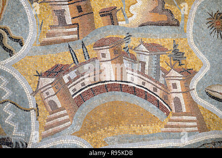 Roman Floor Mosaic (c3rd-c4th) of Paphos and Map or Plan of Cyprus from the Ancient Roman City of Ammaedara Haidra Tunisia - Stock Photo